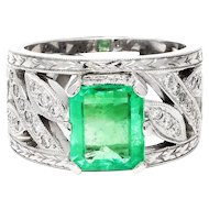 ON SALE Colombian Emerald Cocktail Ring with Diamonds in 14kt White Gold 2.50ctw Milgrain
