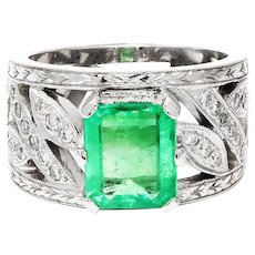 Colombian Emerald Cocktail Ring with Diamonds White Gold 2.50ctw Milgrain