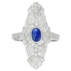 Vintage Style Art Deco Sapphire Ring with Diamonds 18K White Gold .79ctw