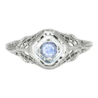 Dainty Sapphire Open Filigree Solitaire Ring 14K White Gold .25ct