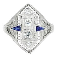 Art Deco Old Euro Diamond Dinner Ring with Sapphires 14K White Gold .50ctw
