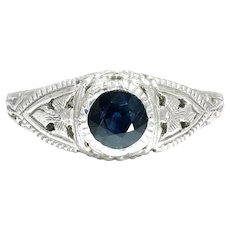 Vintage Round Sapphire Solitaire Engagement Ring 14K White Gold .60ct