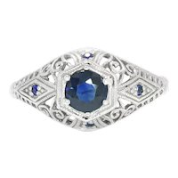 Vintage Sapphire Engagement Ring with Accents 14K White Gold .37ctw