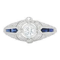 Art Deco Style Diamond Engagement Ring with Accents Platinum .60ctw