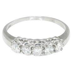 Women's 5-Diamond Wedding Band Anniversary Ring 14K White Gold 1/2 Carat