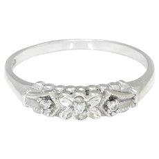 Women's 3-Diamond Wedding Band Anniversary Ring 14K White Gold .03ctw