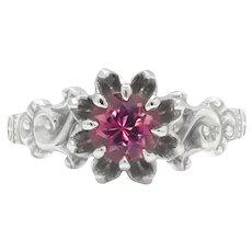 Vintage Style Pink Tourmaline Ring 14K White Gold .65ct