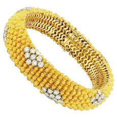 "7.20ctw Diamond Bracelet in Solid 18kt Yellow Gold 8.25"""