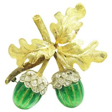 Vintage Diamond Acorn with Leaves Brooch 18K & Green Enamel .23ctw