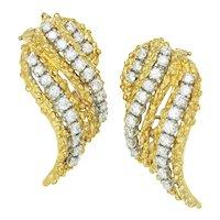 Vintage Diamond Flame Earrings 18K Yellow Gold 2.50ctw