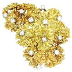 Vintage Anemone Diamond Brooch Pin 18K Gold 2.00ctw