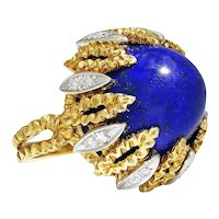 Vintage Sugarloaf Lapis Ring with Diamonds 18K Two Tone Gold 40ct