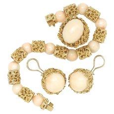 Vintage Angel Skin Coral Ring, Bracelet & Earrings Set Yellow Gold