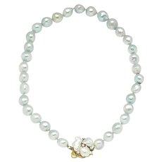 "Vintage Cellino Baroque Pearl & Diamond Choker Necklace 18K Gold 16"""