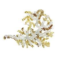 Vintage Diamond Sea Anemone Brooch Pin 18K Two Tone Gold 4.50ctw