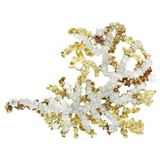 Vintage Diamond Sea Anemone Brooch Pin 18K Two Tone Gold 4.50ctw