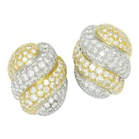 Vintage Diamond Cluster Shrimp Earrings 18K Two Tone Gold 7.00ctw