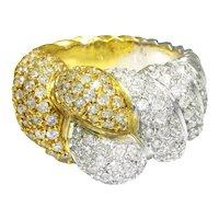 Vintage Diamond Cluster Shrimp Ring 18K Two Tone Gold 1.00ctw