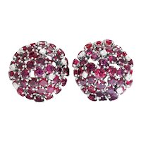 Ruby Dome Clip-On Earrings with Diamonds 18K White Gold 9.90ctw