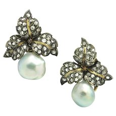 Vintage Buccellati Pearl Clip-On Floral Earrings with Diamonds 18K 2.50ctw w/ Pouch