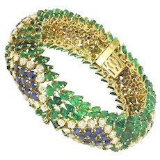Vintage Sapphire, Diamond & Emerald Bracelet 18K Yellow Gold 61.20ctw