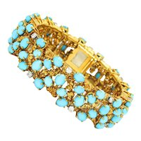 Vintage Cartier Turquoise Bracelet with Diamonds 18K Yellow Gold 37.60ctw