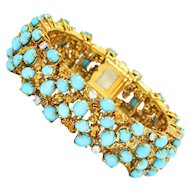 Vintage Cartier Turquoise Bracelet with Diamonds 18K Yellow Gold 37.60ctw