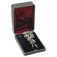 """French 19th Century Diamond Flower """"Trembleuse"""" Brooch Pin with Box 21.00ctw"""