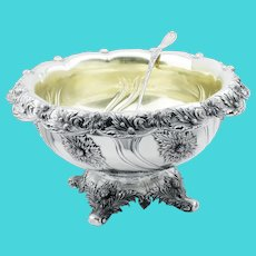 Tiffany & Co Chrysanthemum Sterling Punch Bowl & Ladle Set 1895
