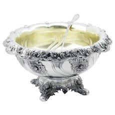 Tiffany & Co Chrysanthemum Sterling Punch Bowl & Ladle Set 1895