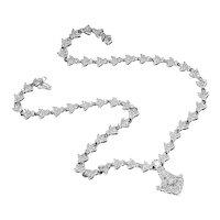 Floral Diamond Pendant Necklace with Milgrain in 18kt White Gold 4.20ctw Bezel Set