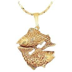 """Vintage Pisces Double Fish Pendant Necklace Yellow Gold 16.5"""""""
