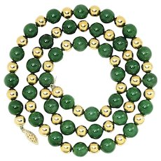 "Vintage Green Jade and Gold Bead Necklace 14K Yellow Gold 26"" 10.25mm"