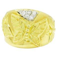 SeidenGang Love of Life Diamond Butterfly Band 18K White & Yellow Gold