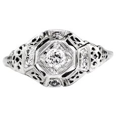 Vintage Old Mine Cut Diamond Ring 18K White Gold Open Filigree .20ctw