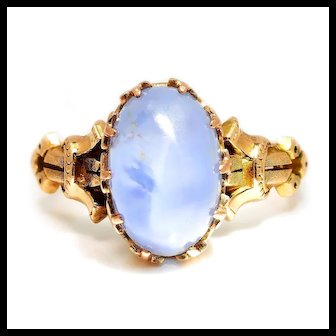 Antique Certified Blue Star Sapphire Solitaire Ring 14K Yellow Gold 7.46ct