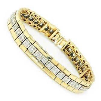 Vintage Round Diamond Tennis Bracelet 14K White & Yellow Gold 2.00ctw