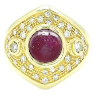 Vintage Cabochon Ruby Ring with Diamonds 18K Yellow Gold 2.84ctw