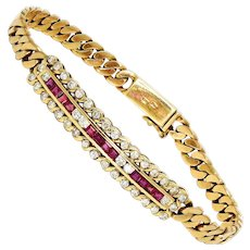 """Retro Ruby Tag Bracelet with Diamonds in 14kt Yellow Gold 2.00ctw 7"""""""