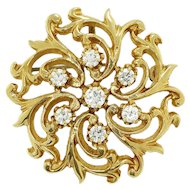 Vintage Round Diamond Open Filigree 14kt Yellow Gold Pendant Brooch