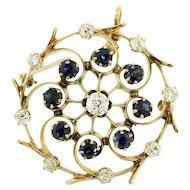 Vintage Old Mine Cut Diamond & Blue Sapphire 14K Gold Pendant Brooch
