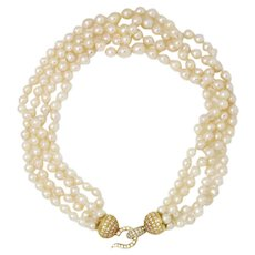 Vintage 4-Strand Pearl Choker Necklace with Diamond Hook Clasp 18K 1.88ctw