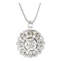 Round Diamond Halo Pendant Necklace 14K White Gold 1.19ctw