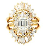 Vintage Emerald Cut Diamond Ballerina Ring 14K Yellow Gold 3.00ctw with Guard