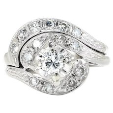 Art Deco Diamond Swirl Engagement Ring Set with Single Cuts 14K White Gold .50ctw