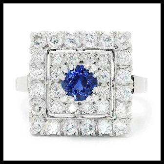 Vintage Art Deco Sapphire Square Ring with Diamonds in Platinum 1.65ctw