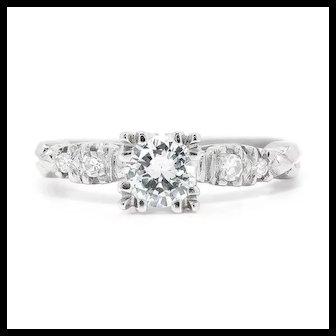 Vintage Art Deco Round Diamond Engagement Ring 14K White Gold .55ctw