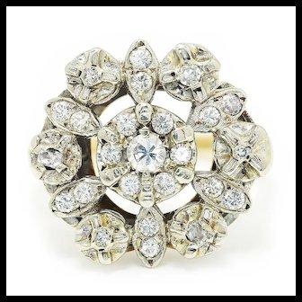 Vintage Diamond Cluster Snowflake Ring 14K Two Tone Gold .35ctw