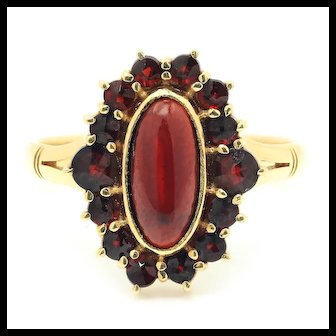Vintage Cabochon Garnet Ring with Accents 14K Yellow Gold 2.25ctw