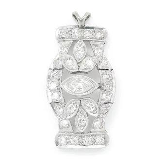 Vintage Marquise & Single Cut Diamond Pendant Platinum 1.00ctw